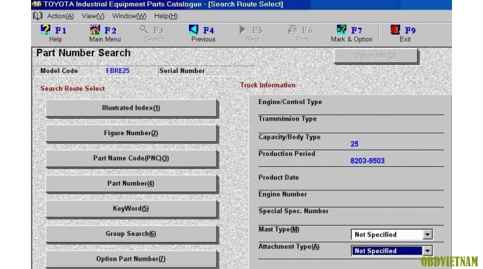 Phần mềm tra cứu phụ tùng TOYOTA EPC